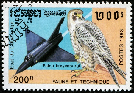 CAMBODGE - CIRCA 1993: A stamp printed in Cabbodge shows aircraft Falcon and bird Peregrine Falcon - Falco kreyenborgi photo