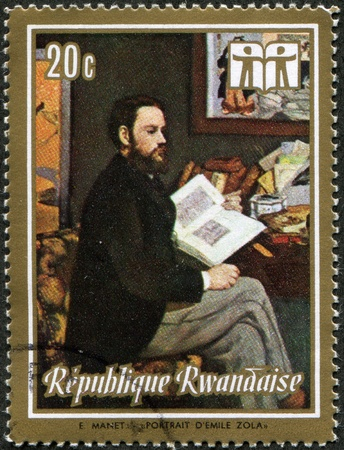 RWANDA - CIRCA 1973: A stamp printed in Rwanda shows draw by Eduard Manet - Portrait of Emile Zola, (1868), Orsay Museum, Paris, circa 1973  photo