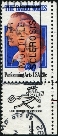 lionel: USA - CIRCA 1982: A stamp printed in United States of America honor the memory of actors John, Ethel and Lionel Barrymore, circa 1982 Editorial