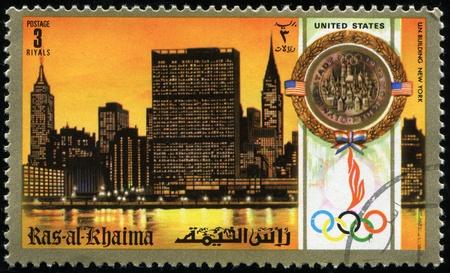 khaima: RAS AL KHAIMA - CIRCA 1972: A stamp printed in RAS Al Khaima shows UN building in New York, circa 1972  Editorial