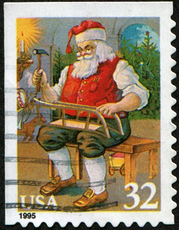 UNITED STATES OF AMERICA - CIRCA 1995: A stamp printed in the United States shows Santa Claus, series, circa 1995 Stock Photo - 8330231