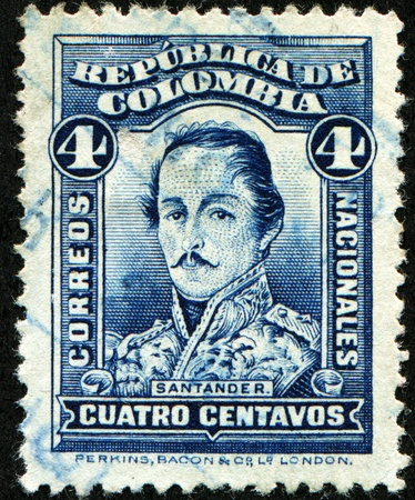 COLOMBIA - CIRCA 1883: A stamp printed in Colombia shows Francisco de Paula Santander - 4th President of the Republic of the New Granada, circa 1883 Stock Photo - 8330241
