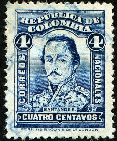 santander: COLOMBIA - CIRCA 1883: A stamp printed in Colombia shows Francisco de Paula Santander - 4th President of the Republic of the New Granada, circa 1883