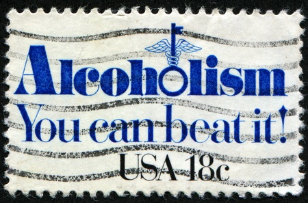 UNITED STATES - CIRCA 1981: A stamp printed in United States shows slogan - Alcoholism. You can beat it!, circa 1981