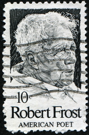 depictions: USA - CIRCA 1980: A stamp shows image portrait Robert Lee Frost (March 26, 1874 - January 29, 1963) was an American poet, circa 1980.  Stock Photo