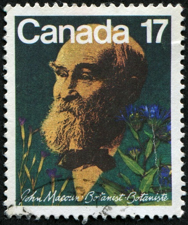botanist: CANADA - CIRCA 1981: A stamp prointed in Canada shows botanist John Macoun, circa 1981