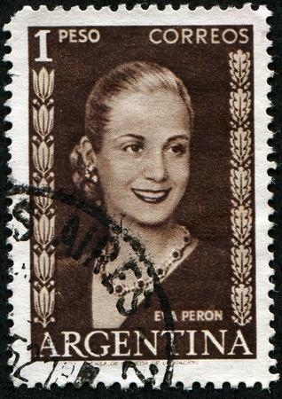 ARGENTINA - CIRCA 1948: A stamp printed in Argentina shows Eva Peron, circa 1948 Standard-Bild