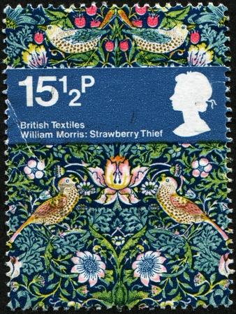 william: UNITED KINGDOM - CIRCA 1982: A stamp printed in United Kingdom dedicated British Textiles - Wiliam Morris: Strawberry Thief, circa 1982