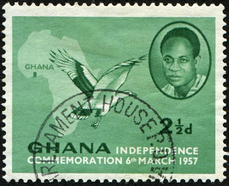 GHANA - CIRCA 1957: A stamp printed in Ghana with 1958 postmark shows a map of Africa and commemorates Ghanaian independence, circa 1957  Stock Photo - 8330283