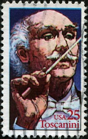 arturo: UNITED STATES - CIRCA 1989: A stamp printed in United Sstates, shows great Italian conductor Arturo Toscanini , circa 1989