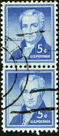 monroe: UNITED STATES OF AMERICA - CIRCA 1954: A stamp printed in the USA shows image of President James Monroe, circa 1954 Editorial