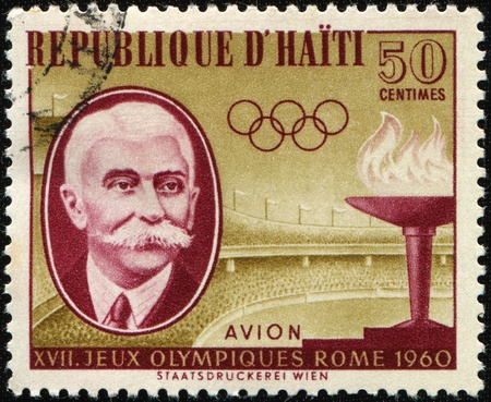 HAITI - CIRCA 1960: A stamp printed in Haiti honoring XVII Olympic Games in Roma shows Pierre de Coubertin, circa 1960 Stock Photo - 8330291