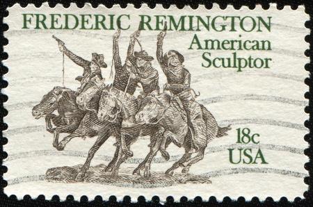 frederic: Estados Unidos de Am�rica - CIRCA 1981: Un sello imprimido en los Estados Unidos dedicado Frederic Remington (1861-1909), un distinguido pintor, escultor y escritor, alrededor del a�o 1981