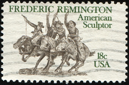 frederic: UNITED STATES OF AMERICA - CIRCA 1981: A stamp printed in the USA devoted Frederic Remington (1861-1909), a distinguished American painter, sculptor, and author, circa 1981