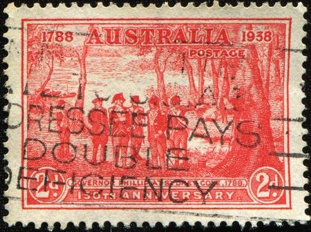 AUSTRALIA - CIRCA 1938: A stamp printed in Australia devoted Governor Phillipat Sydney Cove, circa 1938 photo
