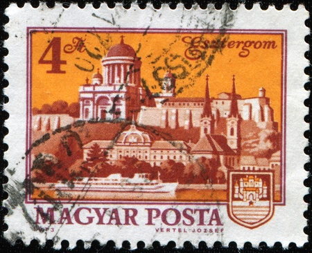 HUNGARY -CIRCA 1960s: A stamp printed in Hungary shows view of Esztergom, circa 1960s Stock Photo - 8381278