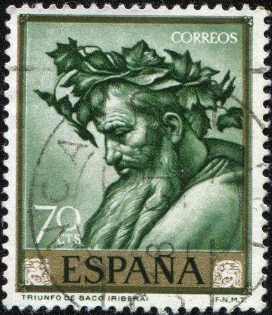 SPAIN - CIRCA 1963: A stamp printed in Spain shows Triumph of Bacchus  by Jose de Ribera, circa 1963 Stock Photo - 8381284