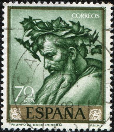 bacchus: SPAIN - CIRCA 1963: A stamp printed in Spain shows Triumph of Bacchus  by Jose de Ribera, circa 1963 Editorial
