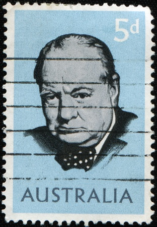 AUSTRALIA - CIRCA 1965: A stamp printed in Australia shows Winston Churchill, circa 1965