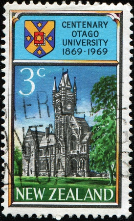 NEW ZEALAND - CIRCA 1969: A stamp in New Zealand shows Otago University, circa 1969 Stock Photo - 8381321