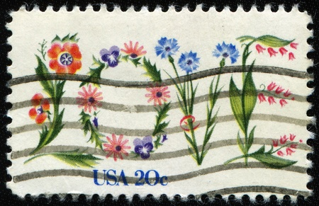 UNITED STATES OF AMERICA - CIRCA 1982: A stamp printed in the USA shows flowers, circa 1982 Stock Photo - 8381311