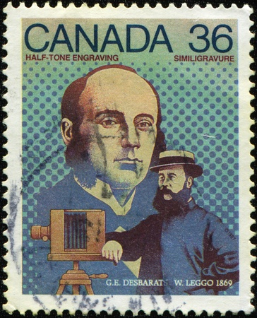 invented: CANADA -CIRCA 1967: Stamp issued to honor two Canadian inventors - GEORGES-EDOUARD DESBARATS (1838 - 1893) and WILLIAM LEGGO (1830 - 1915). They invented half-tone engraving in 1869, circa 1967
