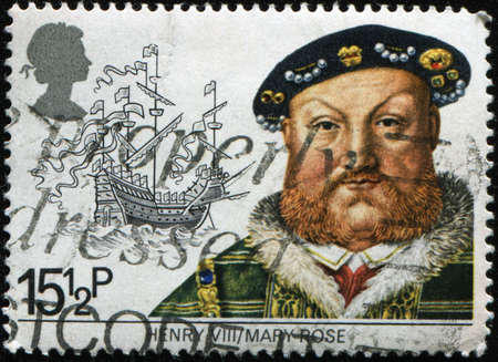 UNITED KINGDOM - CIRCA 1982: A British Used Postage Stamp Depicting Maritime Heirtage showing Henry VIII and the Mary Rose, circa 1982  Stock Photo - 8381348