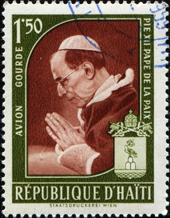 pius: HAITI - CIRCA 1959: A satmp printed in Haiti shows Venerable Pope Pius XII, circa 1959