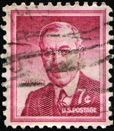 UNITED STATES - CIRCA 1956: stamp printed by United states, shows Woodrow Wilson, circa 1956 Stock Photo - 8416541