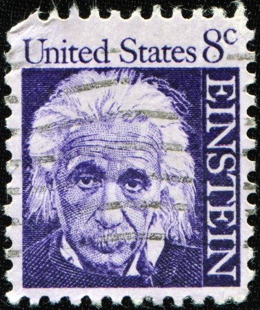 albert: UNITED STATES OF AMERICA - CIRCA 1966: A stamp printed in the USA shows Albert Einstein, circa 1966 Editorial