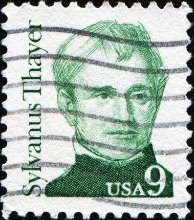pioneering: UNITED STATES OF AMERICA - CIRCA 1985: A stamp printed in the USA shows Sylvanus Thayer, considered the father of technical education in America for his pioneering reforms at the United States Military Academy, circa 1985 Stock Photo