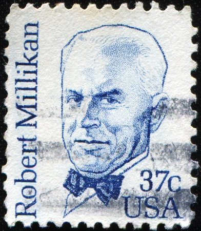laureate: USA - CIRCA 1982 : stamp printed in the USA shows Robert Andrews Millikan American experimental physicist, and Nobel laureate, circa 1982 Stock Photo