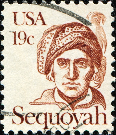 cancelled stamp: UNITED STATES OF AMERICA - CIRCA 1980: A stamp printed in the USA shows Sequoyah (c. 17601770-1843), also spelled Sequoya or Sequoia, was a silversmith, painter, and warrior, circa 1980