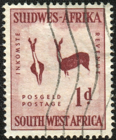 SOUTH WEST AFRICA - CIRCA 1949: A stamp printed in South West Africa, now Namibia, shows image of two antelope, series, circa 1949  photo