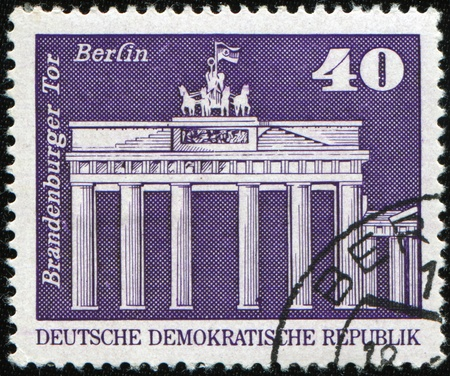 GDR - CIRCA 1973: A stamp prunted in GDR (East Germany) shows Brandenburg Gate in Berlin, circa 1973 photo