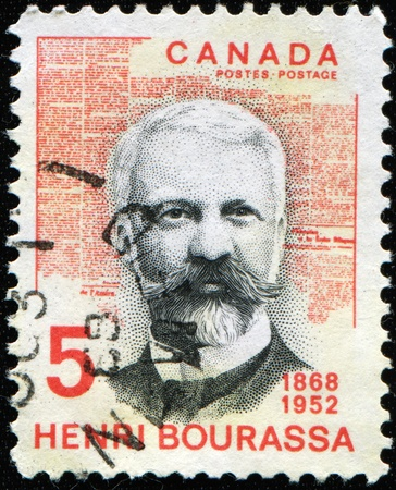 canada stamp: CANADA - CIRCA 1968: A stamp printed in Canada shows Henry Bourassa, circa 1968 Editorial