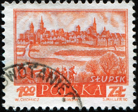 POLAND - CIRCA 1960: A post stamp printed in Poland shows view of Slupsk, circa 1960 Stock Photo - 8416604