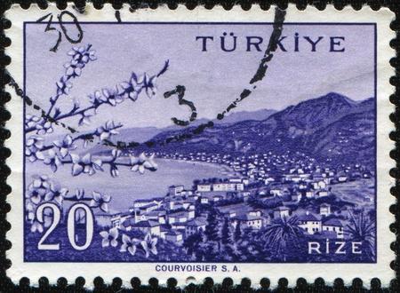 TURKEY - CIRCA 20th century: A stamp printed in Turkey shows Rize city, circa 20th century  photo