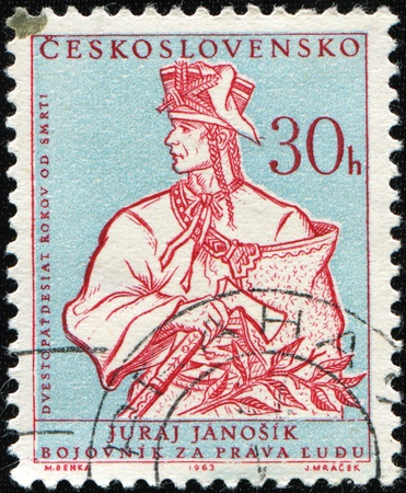czechoslovakia: CZECHOSLOVAKIA - CIRCA 1963: A stamp printed in Czechoslovakia shows fighter for human rights Juraj Janosik, circa 1963