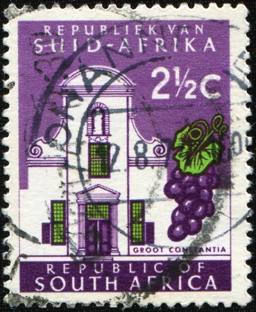 SOUTH AFRICA - CIRCA 1961: A stamp printed in South Africa shows Cape Towns Groot Constantia wine estate, circa 1961 Stock Photo - 8454086