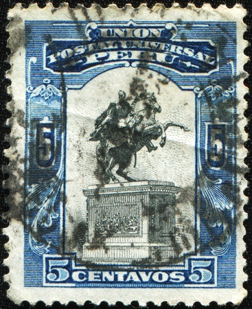 PERU - CIRCA 1935: A stamp printed in Peru shows Monument of Simon Bolivar, circa 1935 Stock Photo - 8451288