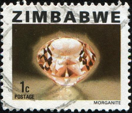 plumbum: ZIMBABWE - CIRCA 1980: A stamp prunted in Zimbabwe shows Morganite, circa 1980