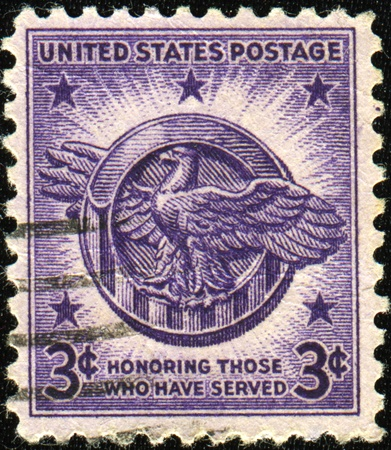 cancelled stamp: UNITED STATES OF AMERICA - CIRCA 1946: Honoring Those Who Have Served United States Postage Stamp, circa 1946
