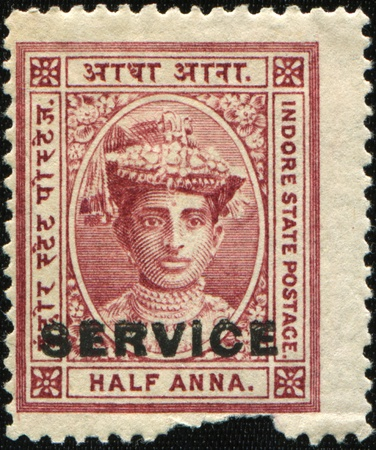 indore: INDIA - CIRCA 1889:  A stamp printed in India shows HH Maharanidhiraja Rani Rajeshwar Sawai Shrimant Akhand Soubbagyavati Usha Devi, Maharaj Sahiba Holkar XV Bahadur, 15th Maharani of Indore , circa 1889 Stock Photo