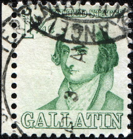 UNITED STATES OF AMERICA - CIRCA 1967: A stamp printed in USA shows Albert Gallatin (1761�1849), political leader, diplomat, and financier, circa 1967 Stock Photo - 8489020