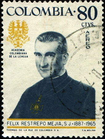 felix: COLOMBIA - CIRCA 1972: A stamp printed in Colombia shows Felix Restrepo Mejia, circa 1972