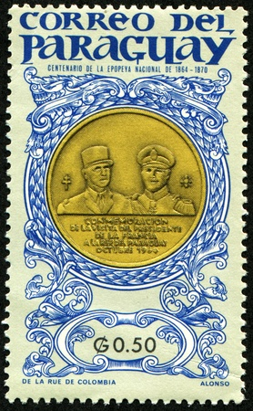 paraguay: PARAGUAY - CIRCA 1970: A stamp printed in Paraguay printed to commemorate the visit of the President of France to the Republic of Paraguay in October 1960, on medal Charles de Gaulle and Alfredo Stroessner