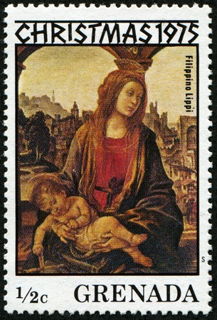 enthroned: GRENADA - CIRCA 1975: A stamp printed in Grenada shows draw by Filippino Luppi
