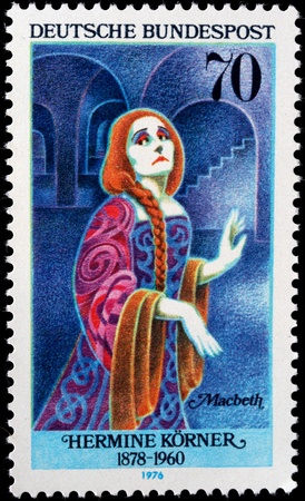macbeth: GERMANY - CIRCA 1976: A stamp from Germany depicts the actress Hermine Körner as Lady Macbeth, circa 1976 Stock Photo