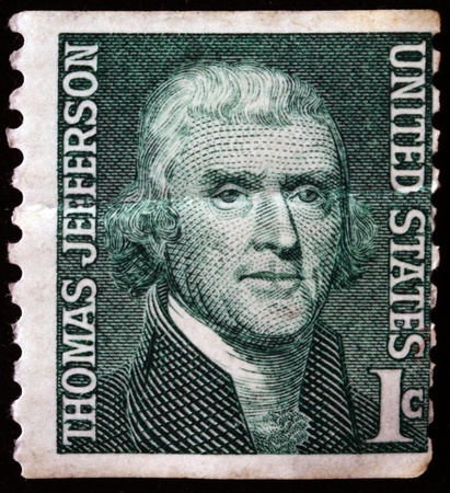 jefferson: USA - CIRCA 1968:  A stamp printed in USA shows image portrait Thomas Jefferson (April 13, 1743 - July 4, 1826) was the third President of the United States (1801-1809), circa 1968